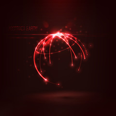Abstract  sphere shape of  glowing circles and particles