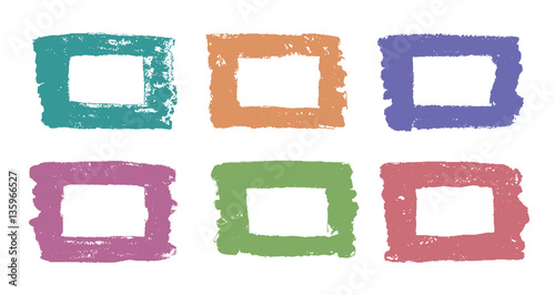 Hand drawing vector square design elements. Set of retro colored ...