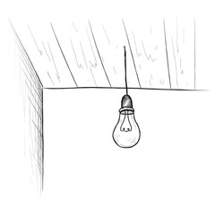 Bulb background. Minimalistic room interior with ceiling lamp.