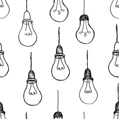 Bulb isolated over white background.  Electric lamp seamless pattern