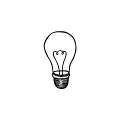 Lamp bulb isolated over white background. Light icon. Doodle line art
