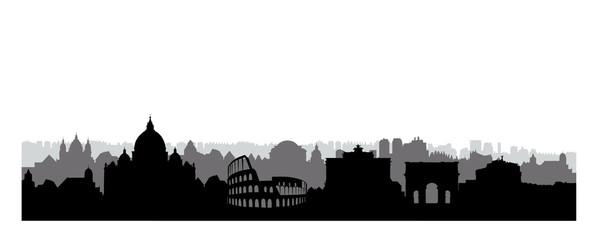 Rome city buildings silhouette. Italian urban landscape. Rome ci