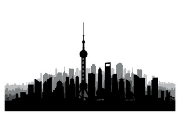 Shanghai city skyline. Chinese urban landscape. Shanghai citysca