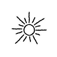 Sun icon isolated over white background. Doodle line art weather illustration