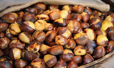cooked chestnuts for sale in the stall