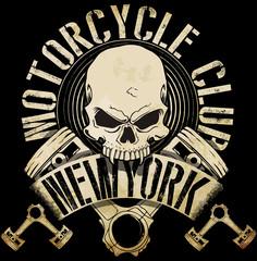 Vintage Biker Skull Emblem Tee Graphic..