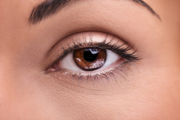 A beautiful insightful look brown woman's eye