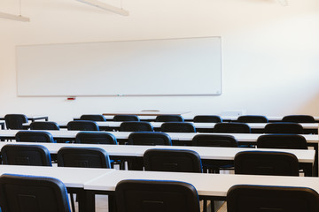 Empty classroom in education university