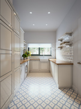 Bright classic traditional laundry room