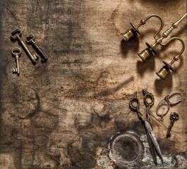 Vintage items scissors keys still life flat lay