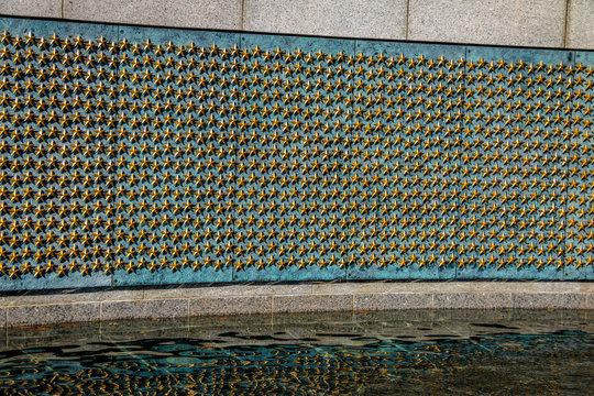 Gold Stars of the Freedom Wall at the World War II memorial - Washington, D.C., USA
