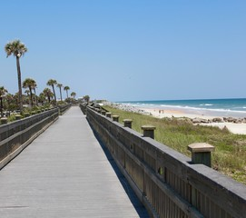 The long boardwalk at the beach.