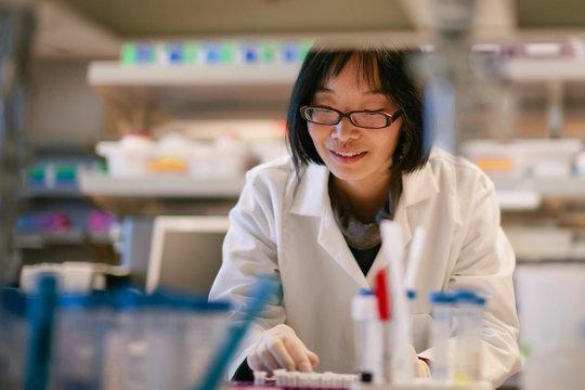 Female Scientist at a Biomedical Laboratory
