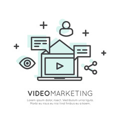 Vector Icon Style Illustration of Video Marketing, Internet E-Mail or Mobile Notifications and Offer Marketing and Social Campaign. Promotion Process Concept