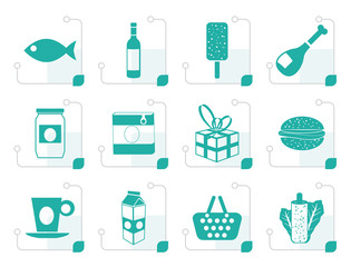 Stylized Shop, food and drink icons 1 - vector icon set