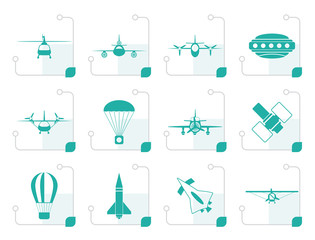 Stylized different types of Aircraft Illustrations and icons - Vector icon set 2