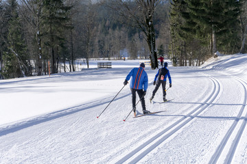 Groomed ski trails for cross country skiing with two cross-count