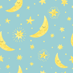Seamless moon and stars pattern. Vector night illustration for kids.