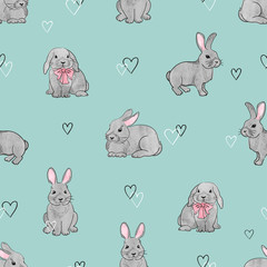 Easter rabbits seamless pattern. Vector background with cute watercolor bunnies on blue.