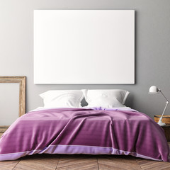 Blank poster on bedroom wall, 3d illustration