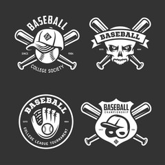 Baseball labels badges emblems set. Vector vintage illustration.
