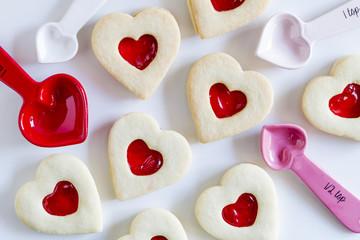 Heart shaped jam filled sugar cookies