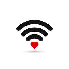 Heart wifi. Vector heart connect icon.