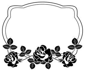 Black and white frame with stylized roses silhouettes. Vector clip art.