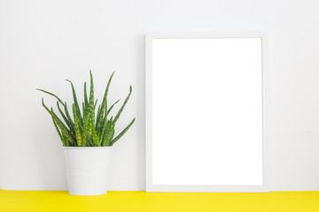 White frame mock up and houseplant.