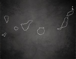 Canary Islands map blackboard chalkboard vector