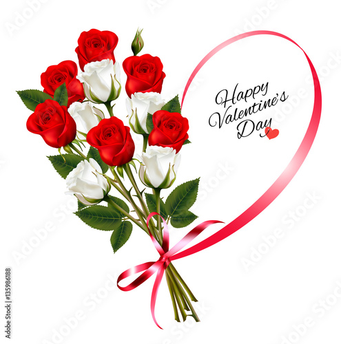 happy valentine's day beautiful background with roses and red ri, Ideas