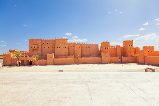 Panoramic of Taourirt Kasbah in the city of Ouarzazate, Morocco.
