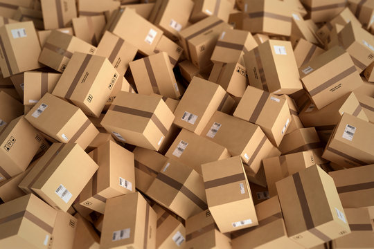 Stack of closed cardboard boxes. 3D Rendering