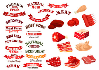 Butchery shop meat icons, vector emblems ribbons