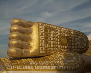 Feet of the Reclining Buddha in Thailand.