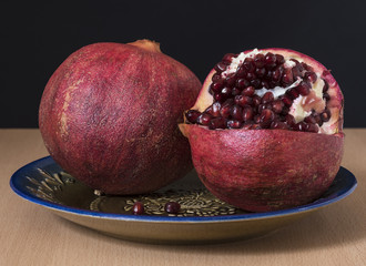 Pomegranate fruits with ripe seeds