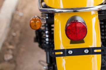 Close up taillight of red motorcycle.Set lights,brake lights and