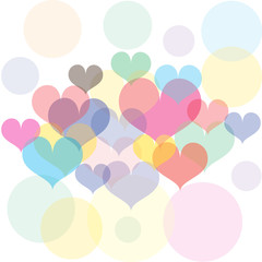 Background vector colorful mix of heart and bokeh.