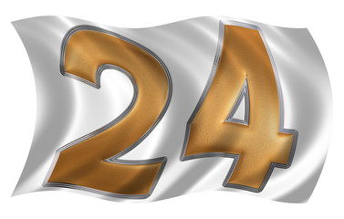 In the wind fluttering the flag with numeral 24, twenty four, is