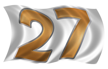 In the wind fluttering the flag with numeral 27, twenty seven, i