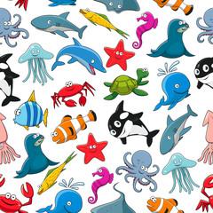 Cartoon sea fish and ocean animals vector pattern