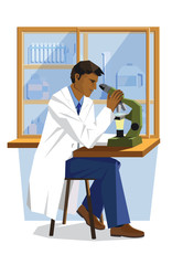scientist man looking in microscope in science lab