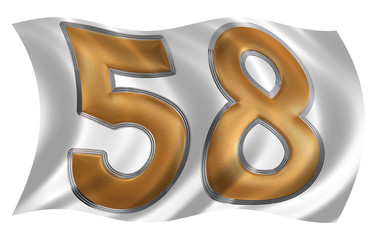 In the wind fluttering the flag with numeral 58, fifty eight, is