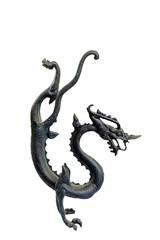 isolated bronze dragon sculpture on white background