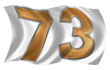 In the wind fluttering the flag with numeral 73, seventy three,