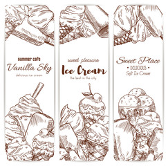 Ice cream cafe desserts sketch vector banners set