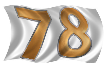 In the wind fluttering the flag with numeral 78, seventy eight,