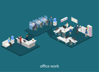 Isometric flat 3D concept vector design interior office set with workers and support hotline