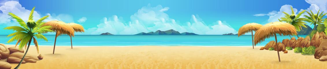 Sea panorama, Tropical beach. Vector background