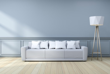 Minimalist  interior design,light gray sofa with white lamp on blue frame wall and hardwood flooring , 3d render